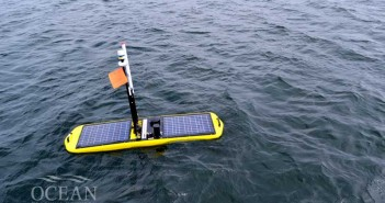 The Wave Glider floats on the surface. An underwater subunit uses wave-power to move forward.
